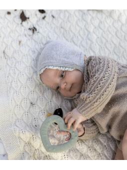 3 BIBS Gryzak dla niemowląt BABY BITIE serce SAGE