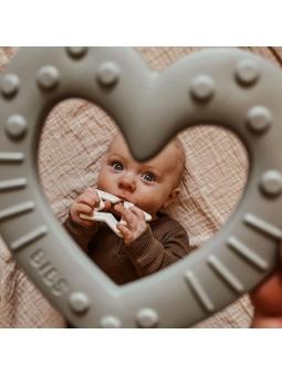 5 BIBS Gryzak dla niemowląt BABY BITIE serce SAGE